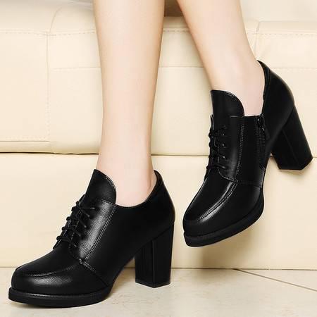古奇天伦春季女鞋7885粗跟单鞋女高跟鞋皮鞋深口鞋防水台