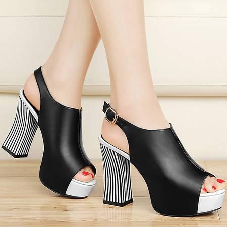 古奇天伦凉鞋女夏8353新款鱼嘴鞋防水台潮一字扣粗跟女鞋高跟单鞋
