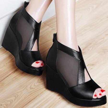 百年纪念坡跟鱼嘴凉鞋1170夏季新款网纱防水台厚底夏天高跟女鞋子