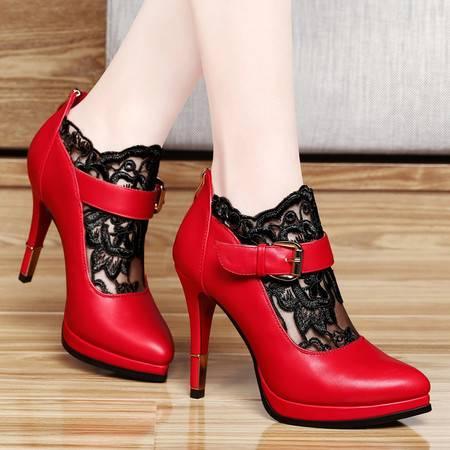 百年纪念蕾丝婚鞋1010春季新品高跟鞋细跟防水台单鞋英伦风女鞋子