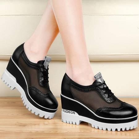 百年纪念坡跟单鞋1166夏季新款真皮厚底松糕鞋网纱春秋高跟女鞋子