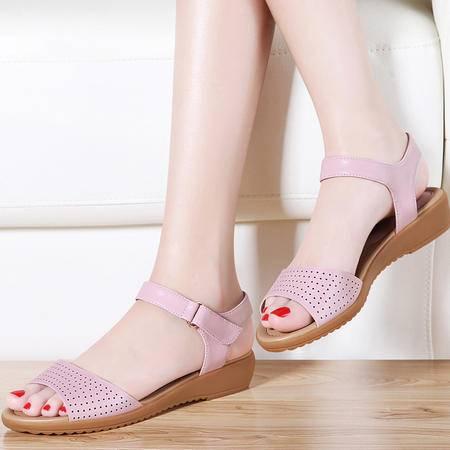古奇天伦平底凉鞋女夏8391夏季新款中跟妈妈鞋时尚简约坡跟女鞋潮