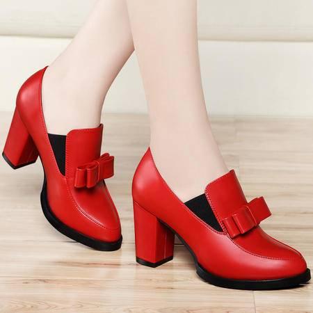 高跟鞋粗跟8137春季新款古奇天伦甜美蝴蝶结防水台深口圆头女鞋子
