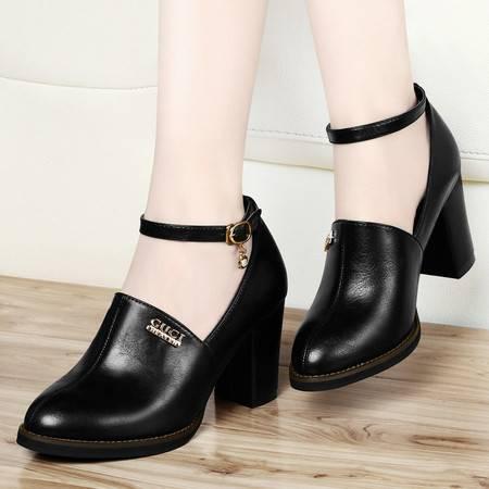 粗跟单鞋女8047春季新款古奇天伦工作鞋浅口圆头防水台高跟鞋女鞋