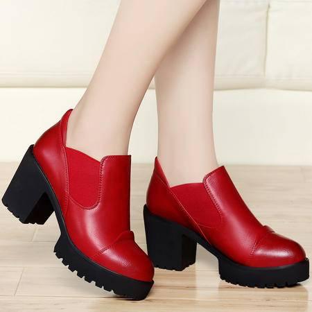 高跟单鞋女8141春季新款古奇天伦欧美潮工作鞋深口圆头粗跟女鞋子