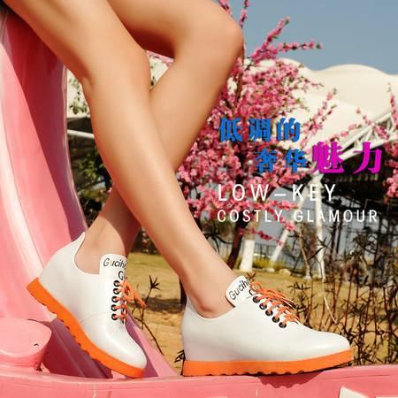单鞋女平底752春季新款古奇天伦韩版系带深口圆头内增高休闲鞋女