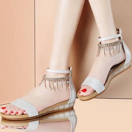 凉鞋女夏平跟古奇天伦韩版水钻露趾流苏女鞋8383新款时尚潮学生鞋