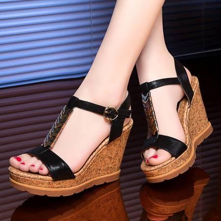 莱卡金顿1802夏季新款坡跟凉鞋女鞋夏天鱼嘴鞋女士高跟鞋学生百搭厚底鞋子