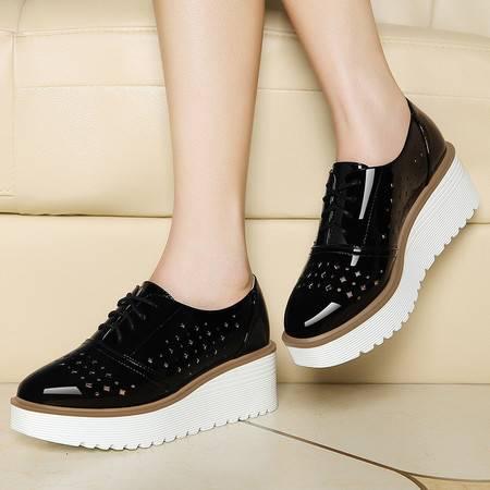 莱卡金顿6041新款松糕厚底时尚女鞋子单鞋女乐福鞋韩版潮女休闲鞋