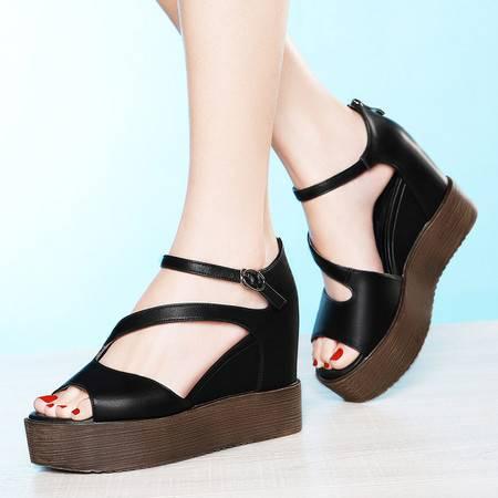 莱卡金顿平底坡跟厚底鱼嘴女凉鞋6027新款夏女鞋子防水台高跟单鞋