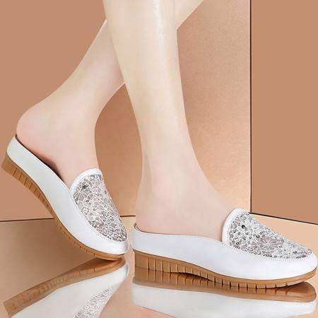 雅诗莱雅3066平底拖鞋女夏季新款包头半托女鞋凉拖鞋室外平跟凉鞋夏天鞋子