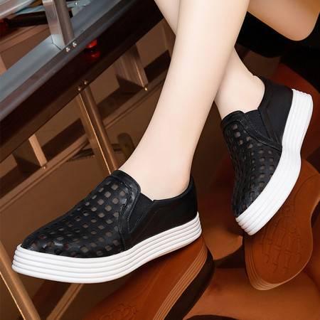 莱卡金顿1669乐福鞋女镂空圆头平底单鞋厚底套脚女鞋松糕鞋