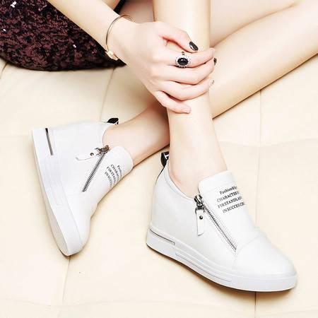 莱卡金顿6020韩版隐形内增高单鞋女平底女鞋乐福鞋厚底潮流休闲鞋皮鞋