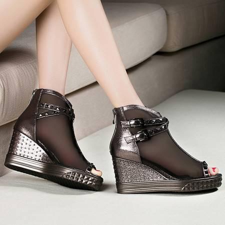 莱卡金顿1639春夏新款鱼嘴高跟鞋女坡跟厚底单鞋时尚网纱铆钉女鞋