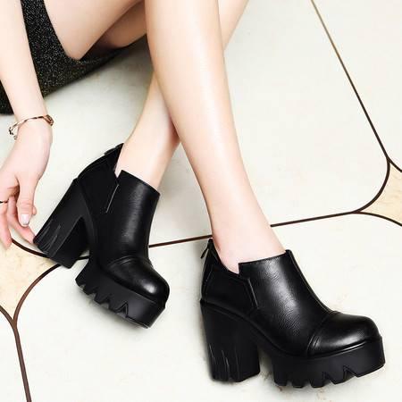 莱卡金顿6003春季新款粗跟单鞋防水台厚底高跟春秋女鞋子欧美圆头女士皮鞋