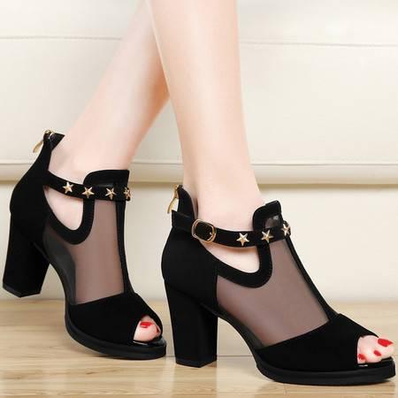 雅诗莱雅3048春夏季新款性感鱼嘴网纱凉鞋粗跟高跟鞋百搭女鞋夏天