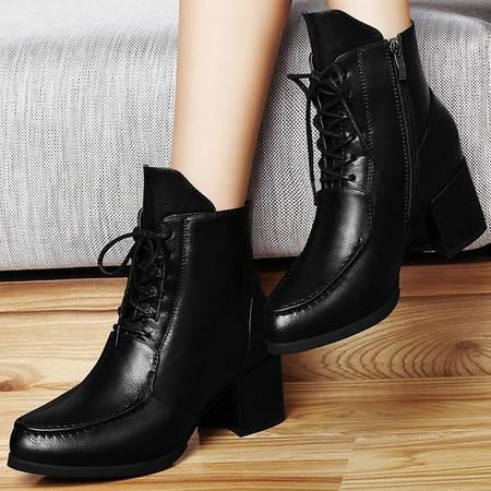 雅诗莱雅女鞋粗跟短靴女3024新品黑色马丁靴女高跟短筒女靴子潮