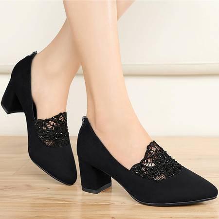 雅诗莱雅3039春季新款尖头高跟鞋女浅口单鞋粗跟女鞋中老年妈妈鞋
