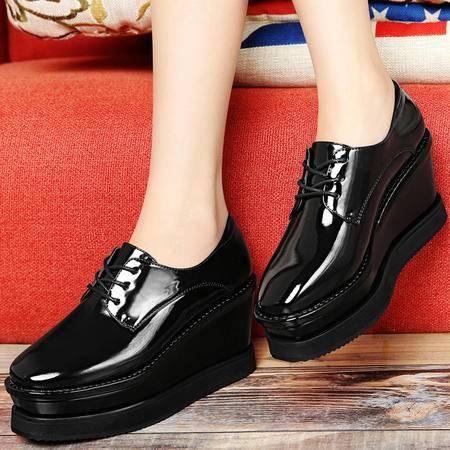 雅诗莱雅3044女鞋春秋单鞋时尚坡跟高跟鞋新款学院风松糕厚底休闲鞋子