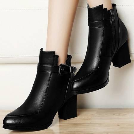 雅诗莱雅高跟短靴新品3036粗跟马丁靴女英伦尖头裸靴女靴子