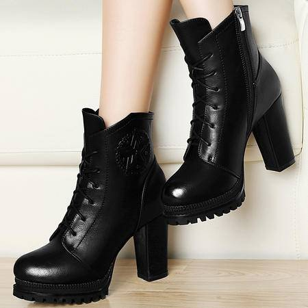 雅诗莱雅女鞋3034季新品粗跟高跟马丁靴女短靴防水台女靴子潮