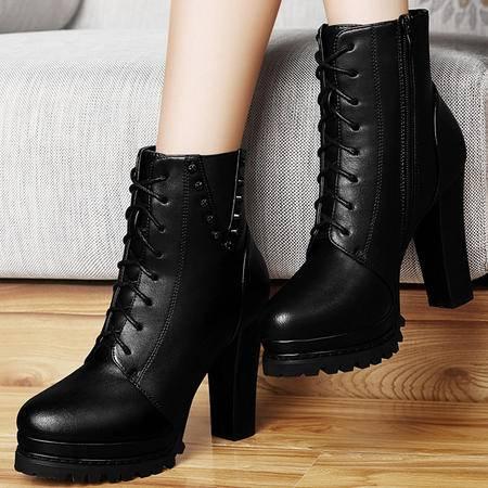 雅诗莱雅3021新品防水台高帮女靴 高跟铆钉侧拉链马丁靴 踝靴