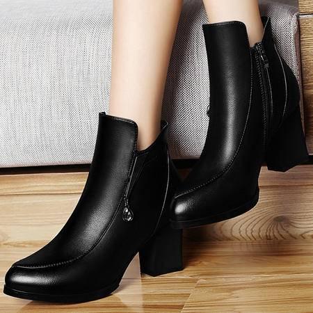 雅诗莱雅3033上新品尖头粗跟单鞋英伦风高跟女鞋子正装职业鞋