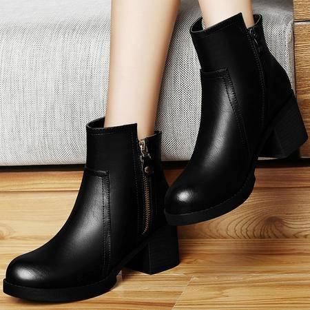 雅诗莱雅 3027 新款圆头防水台女鞋 粗跟短筒靴 侧拉链女靴子
