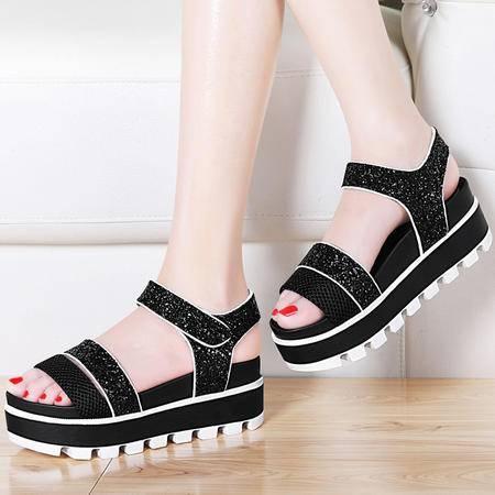 古奇天伦厚底松糕凉鞋8406夏季新款休闲露趾高跟女鞋韩版夏天鞋子