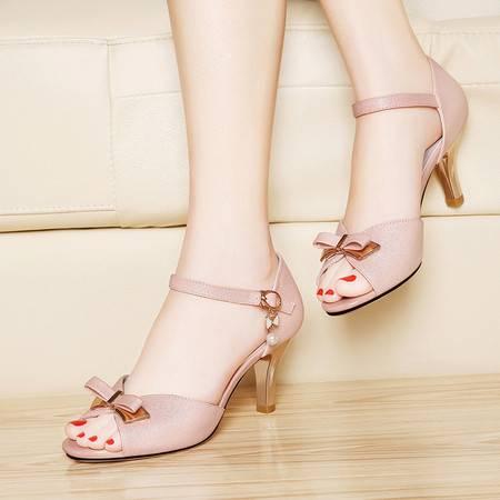莱卡金顿夏季高跟鱼嘴凉鞋6048夏天新款女士中空粗跟优雅时装女鞋