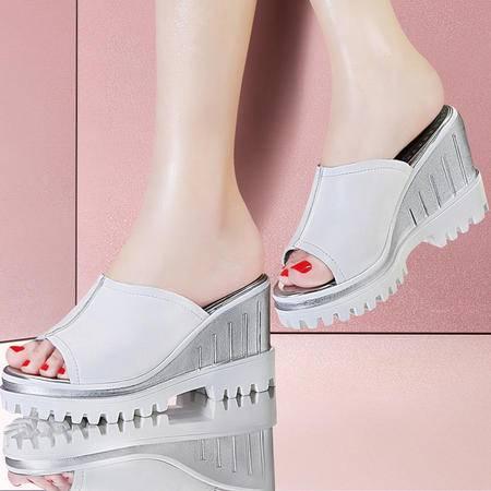 百年纪念1174夏季新款头层牛皮坡跟凉拖厚底防水台一字凉拖女鞋子