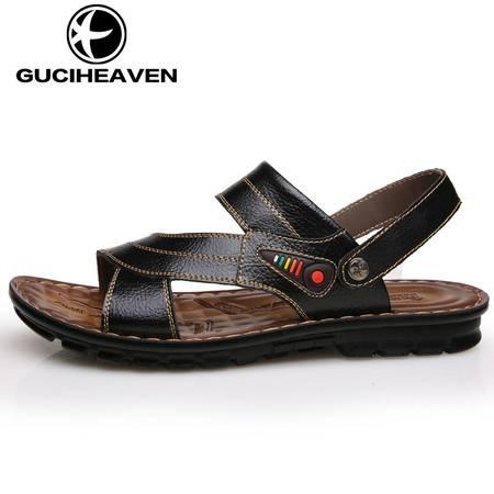 古奇天伦男鞋6815新款真皮男凉鞋夏季男士透气休闲鞋防滑沙滩鞋子