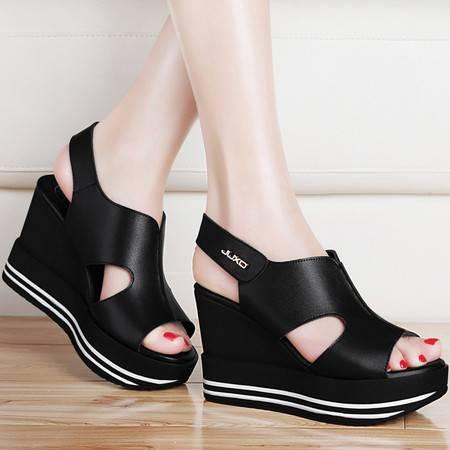 古奇天伦坡跟厚底凉鞋8409夏季新款松糕鱼嘴防水台夏天高跟女鞋子