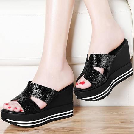 古奇天伦坡跟厚底凉鞋女8408新款韩版夏季室外松糕底高跟女鞋百搭