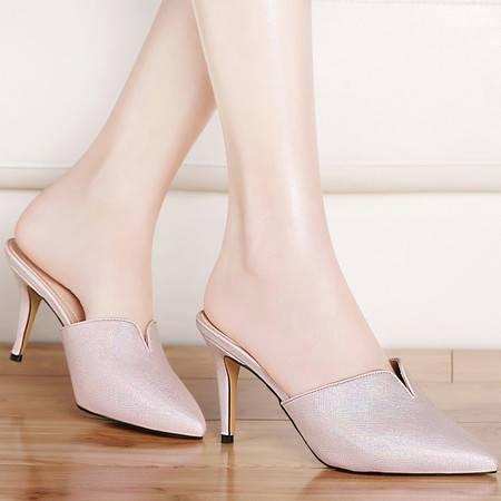 古奇天伦包头凉拖鞋女夏季中跟8428新款时尚室外高跟细跟尖头女鞋