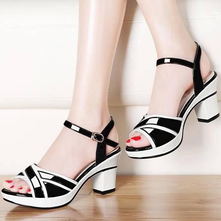 雅诗莱雅一字扣高跟凉鞋3082夏季新款粗跟鱼嘴女鞋夏天淑女百搭鞋