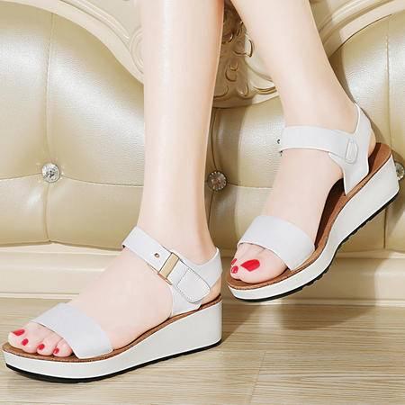 百年纪念坡跟厚底凉鞋1186夏季新款真皮露趾松糕女鞋百搭夏天鞋子