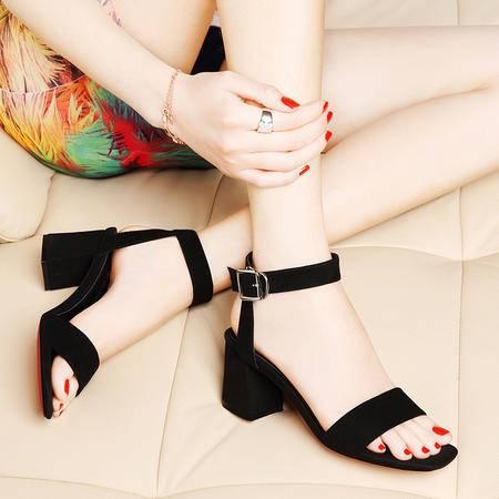 莱卡金顿6075夏季新款露趾粗跟优质搭扣纯色凉鞋脚腕绑带女鞋子