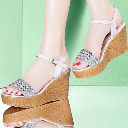 古奇天伦坡跟厚底凉鞋8416夏季新款水钻松糕高跟鞋夏天百搭女鞋子
