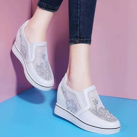 莱卡金顿 6085 圆头防水台低帮鞋 水钻网纱女鞋 内增高平底女鞋子