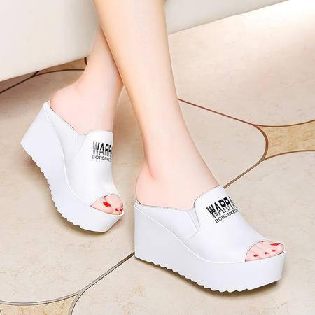 莱卡金顿 6083 一字型厚底女凉拖 坡跟女拖鞋 松糕跟防水台女鞋子