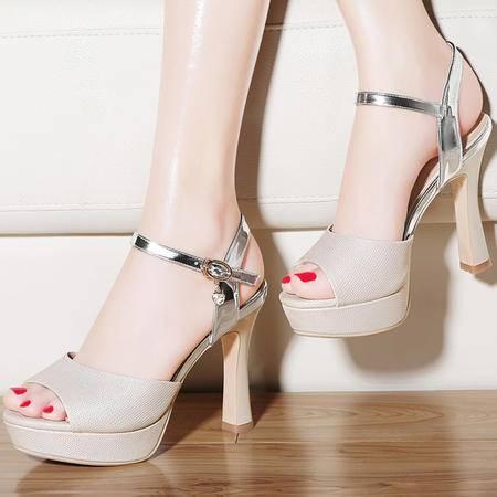 古奇天伦8444高跟凉鞋女夏季百搭新款粗跟厚底鱼嘴夏天女鞋子性感