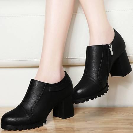 高跟鞋单鞋女鞋春秋古奇天伦8142新款春季粗跟鞋子高跟防水台皮鞋