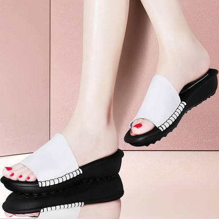 古奇天伦平底拖鞋室外凉拖8439夏季新款韩版夏天鞋子时尚女鞋真皮