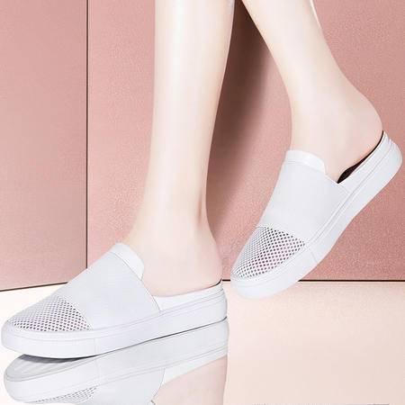 古奇天伦平底室外凉拖鞋8450夏季新款韩版时尚包头中跟女鞋半拖鞋