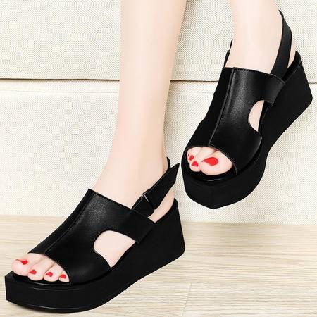 古奇天伦8235坡跟凉鞋夏季新款厚底松糕平底防水台夏天高跟女鞋子