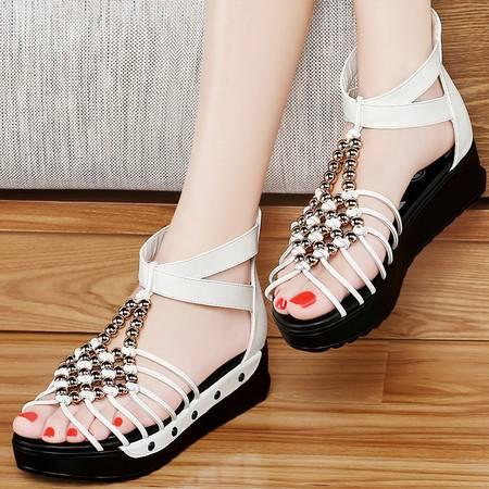 古奇天伦8220波西米亚凉鞋夏季新款平底女鞋中跟厚底时尚夏天鞋子