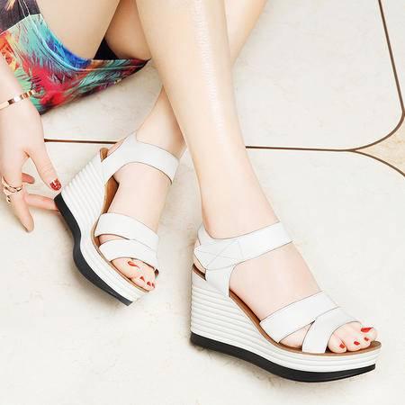 坡跟凉鞋女高跟夏季新款松糕厚底平底韩版时尚潮夏天百搭女鞋6050
