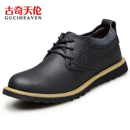 古奇天伦男鞋新款608春季英伦马丁鞋低帮系带圆头真皮鞋子潮流男