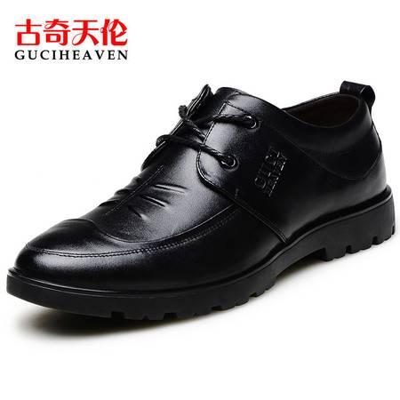 古奇天伦6809夏季士官男士商务休闲皮鞋真皮圆头系带牛皮青年鞋子男鞋